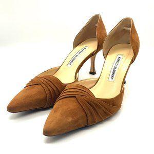 Manolo Blahnik Suede Leather Heels 7